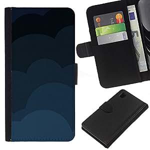 KLONGSHOP // Tirón de la caja Cartera de cuero con ranuras para tarjetas - Nubes Patrón - Sony Xperia Z1 L39 //
