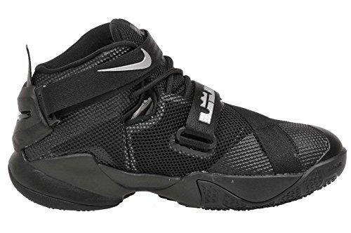 7942be52bc9 Nike LEBRON SOLDIER IX GS Black Metallic Silver Boys Basketball Shoes Size 4