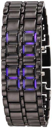 GGI International Men's MLed-Lava-BB Black Stainless Steel and Lava Blue LED Digital Bracelet Watch, Watch Central