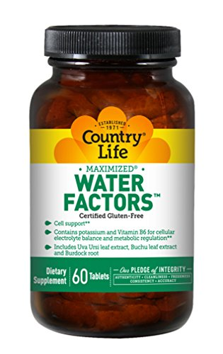 Water Factors Diuretic - Country Life Water Factors - with Potassium and B6 for Electrolyte Balance - 60 Tablets