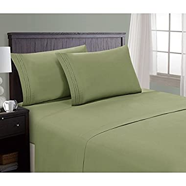 Hotel Luxury Bed Sheets Set- 1800 Series Platinum Collection-Deep Pocket,Wrinkle & Fade Resistant (Queen,Sage)