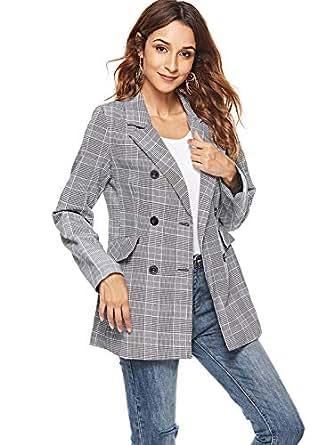 Xsayjia Mujer Blazer Elegante Traje De Ocio A Cuadros Abrigo Modernas Casual Negocios De Solapa Chaqueta: Amazon.es: Ropa y accesorios