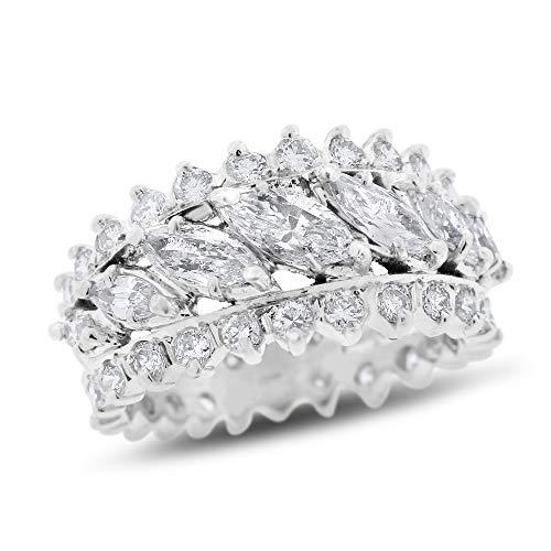 (2.50 Ct. Vintage Estate Natural Marquise Diamond Split Shank Band Ring in Solid Platinum)