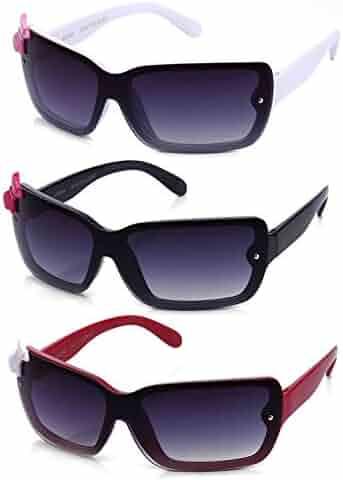 dac15b262e Newbee Fashion - Kids Girls Cute Bow Fashion Sunglasses One Piece Shield  Lense (4-