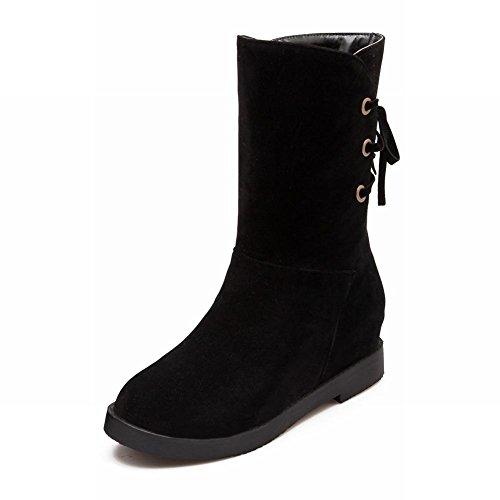 Latasa Womens Fashion Nubuck Chunky Low Heel High Top Back Lace-up Boots Black LdmeWc