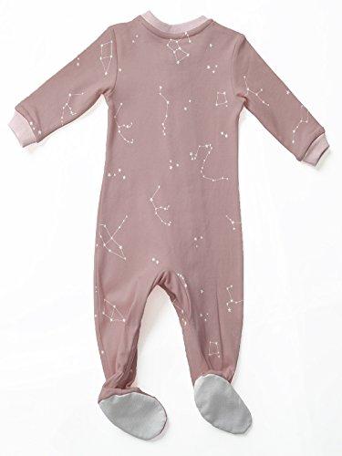 ZippyJamz Organic Baby Footed PJs w/Inseam Zipper - Galaxy Love - Pink (12-18 Mos) by ZippyJamz (Image #2)