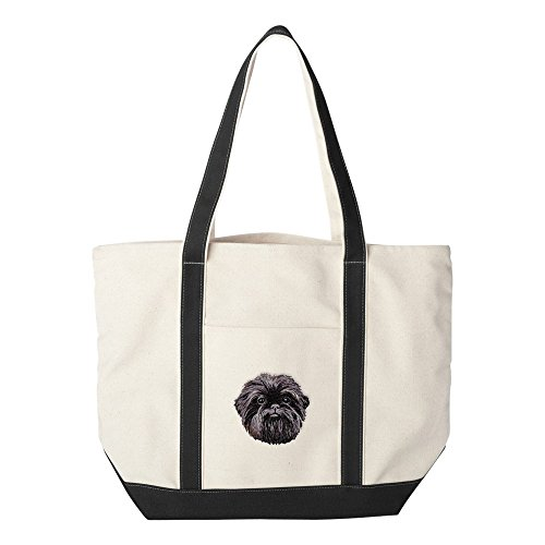 Cherrybrook Dog Breed Embroidered Canvas Tote Bags - Black - Affenpinscher