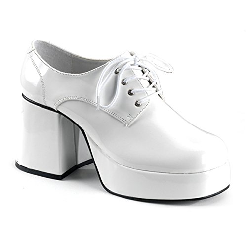 Mens XLG (14)- White Patent Disco Costume Shoes by Pleaser (Image #1)