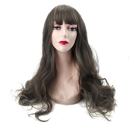 Long Wavy Grey Wig Bangs product image