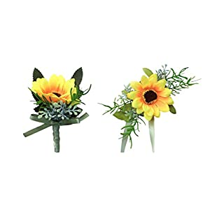 MOJUN Bride Groom Bridesmaid Wedding Flower Boutonniere Corsage Set Simulation Sunflower 92