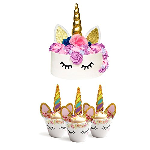 Price comparison product image AMS Party & Decor Unicorn Party Supplies - Cupcake Topper + Wrappers & Cake Topper Birthday Party Baby Shower