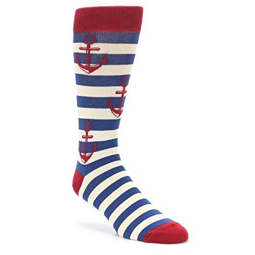 Boldsocks Anchors Nautical Sailing Boating Men's Novelty Socks (Red Navy)