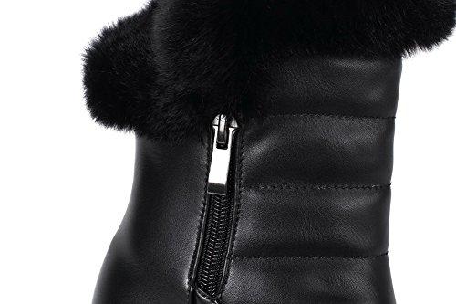 VogueZone009 Damen Eingelegt PU Leder Hoher Absatz Reißverschluss Rund Zehe Stiefel Schwarz