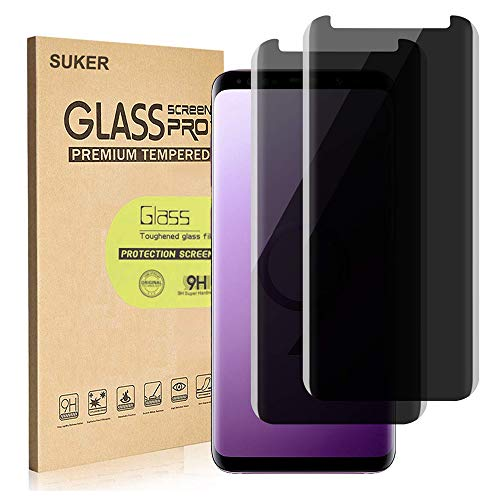 [2-Pack] SUKER Galaxy S9 Privacy Tempered Glass Anti-Spy Screen Protector [3D Curved] [Case Friendly] [9H Hardness] for Samsung Galaxy S9 (5.8