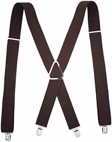 656f21c0e0e GreatGiftList Mens Suspenders X-Back 3.5cm Wide Adjustable Solid Straight  Clip Suspenders
