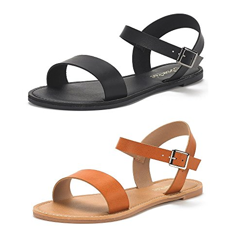 DREAM PAIRS Women's Hoboo-New Cute Open Toes One Band Ankle Strap Flexible Summer Flat Sandals 2 Pairs All Black and Tan Size 6.5