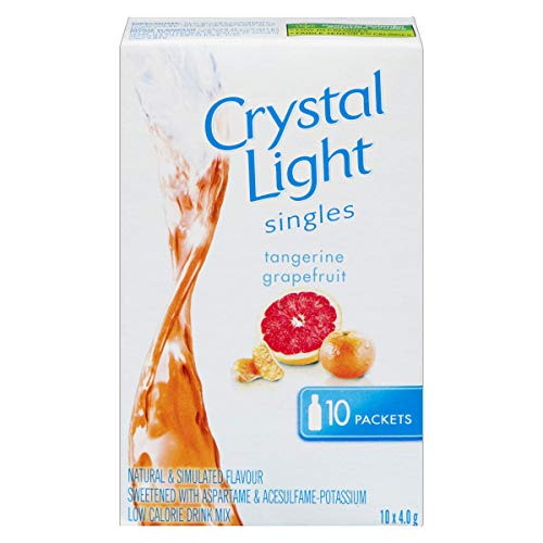 CRYSTAL LIGHT SINGLES - Tangerine Grapefruit, 40G 10 Servings - Imported from Canada