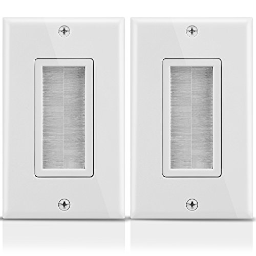 Fosmon 1-Gang Wall Plate (2 Pack), Brush Style Opening Passthrough Low Voltage Cable Plate In-Wall Installation for Speaker Wires, Coaxial Cables, HDMI Cables, or Network/Phone Cables