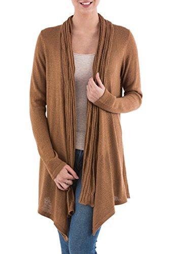 NOVICA Brown 10% Alpaca Wool Long Sleeves Cardigan Sweater, Waterfall Dream'
