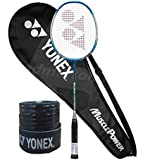YONEX Muscle Power 200 Strung Badminton Racquet (Cyan, G4, 85-92 Grams, 22 lbs)& Full Cover with 1Grip