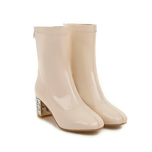 Allhqfashion Women's Kitten-Heels Solid Round Closed Toe PU Zipper Boots Beige BEhQK7Cp