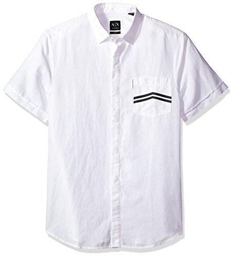 A X Armani Exchange Men's Printed Stripe Pocket Shirt Sleeve Woven, White, Small (White Woven Sleeve Shirt)