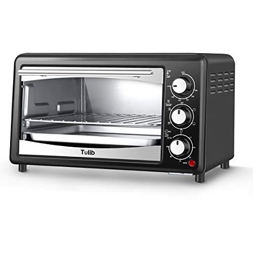 Tulib GT17C-S1 Convection Countertop Toaster Oven, 4 Slice, Black