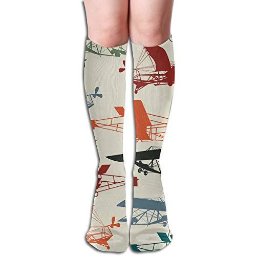 "Free Vintage Airplane Clipart Women Knee High Socks Novelty Crew Socks 19.7"""