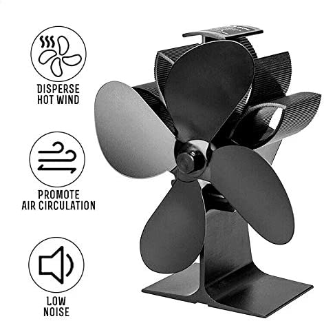 FinWell Heat Powered Stove Fan 4 Blades Fireplace Silent Eco-Friendly Portable for Wood Log Fire Burning