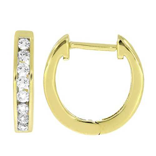 Boucles d'oreilles diamants huggies 1/3 ct tw rondes coupées or jaune 9K