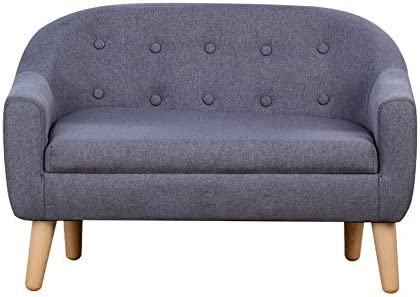 Kids Chair Sofa,Linen Fabric 2-Seater Upholstered Couch,Ideal Children Gift(30-Inch) (Gray)