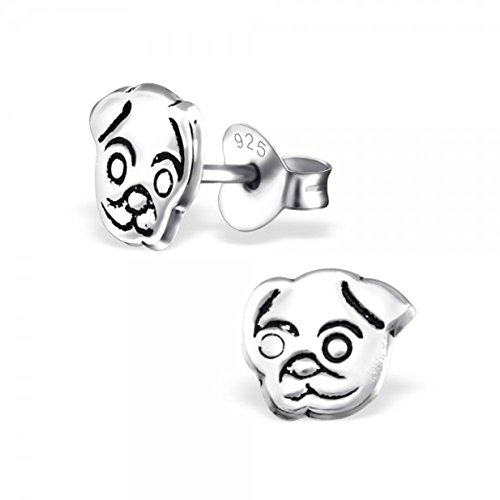 Tiny Plain Silver Pugs Dog Face Studs Earrings Stering Silver 925 Nickle Free ()