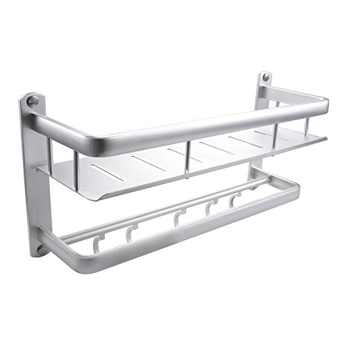 Contemporary Rail Towel - KES 16-Inch Bathroom Shelf with Rail Towel Bar and 5 Hooks Aluminum Heavy Duty Shower Shelving Rectangular Contemporary Style Wall Mount, BSC400S40A