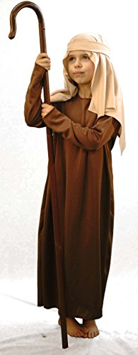 CL COSTUMES Christmas-Nativity-Bible-World Book Day Budget Brown Shepherd/Joseph with Crook Fancy Dress Costume – All Ages (Age 3-4)