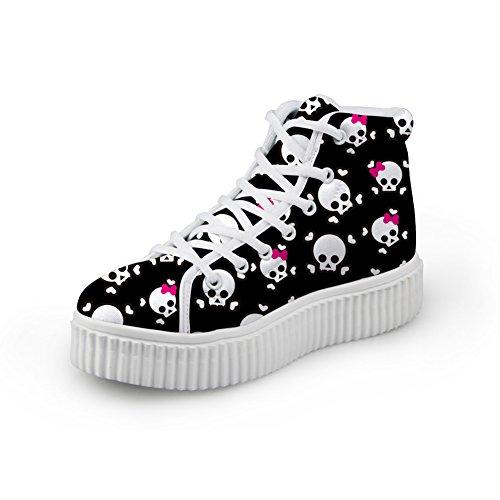 Kramar Idé Mode Skallen Skor Med Höga Klackar Kvinnliga Plattform Sneakers Skull 3