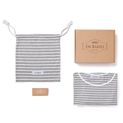 360° FULL COVERAGE Nursing Cover for Breastfeeding - Luxurious, Soft Breathable Cotton in Poncho Style (Gray Stripe) by EN Babies (Image #4)