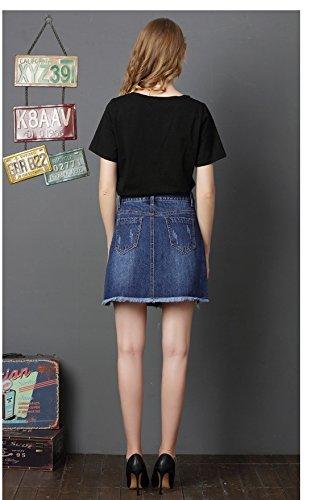 Courte dt Jean FuweiEncore Ligne Jupe Grande Taille Imprim Dcontract Mini A Jupe Haute Fonc Dchir Bleu Taille en x4pXq4PwF