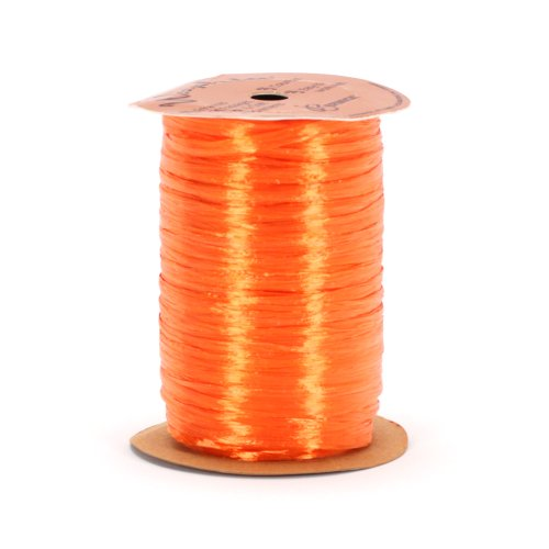 Berwick Offray Orange Pearlized Raffia Ribbon, 1/4'' Wide, 100 - Pearlized Rayon Raffia Ribbon