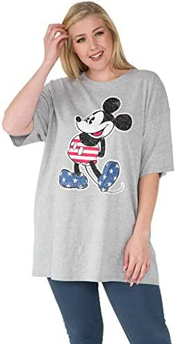 Disney Womens Plus Size T-shirt Mickey Mouse 4th of July American Flag Print