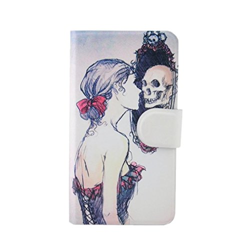 Generic Sexy Woman Specter Mirror Skull Design Card Slot Magnetic PU Leather Flip Case Cover For Alcatel 6034R One Touch idol S