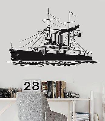 Vinyl Decal Ship Navy War Military Boys Room Naval Decor Wall Stickers 018ig