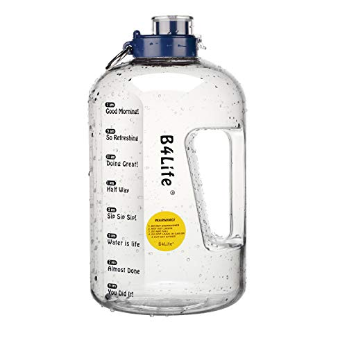 B4Life 1 Gallon Water Bottle with Time Marker, Motivational Fitness Workout, Drink More Water Daily, Extra Large BPA-Free Water Bottle Leakproof with Flip Top-Blue