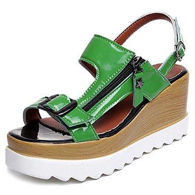 Frauen 039S Sandalen Komfort leicht PU Sohle Kleidung Casual Sommer-Licht-Komfort Sonnen Schnalle Ferse Keil grün weiß 2A-234ingreenus8UE39UK6CN39