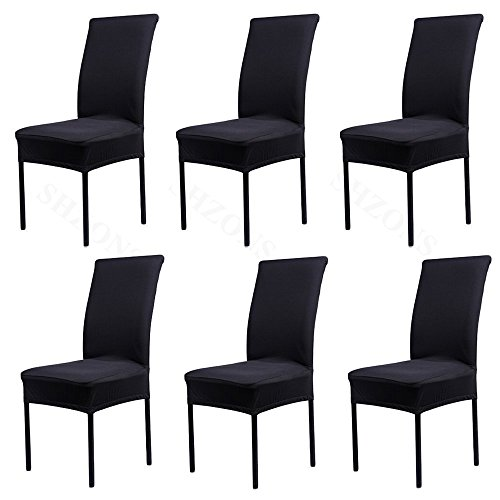 6X FLYPARTY Universal Stretch Spandex Removable Washable Short Dining Chair Cover Protector Seat Solid Slipcovers for Hotel,Dining Room,Ceremony,Wedding etc ()