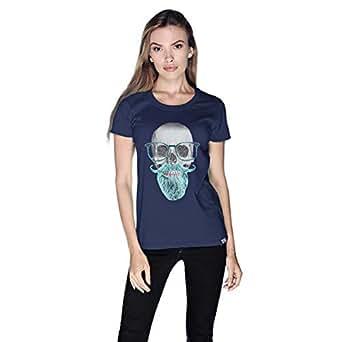Creo Mint Beard Skull T-Shirt For Women - S, Navy Blue