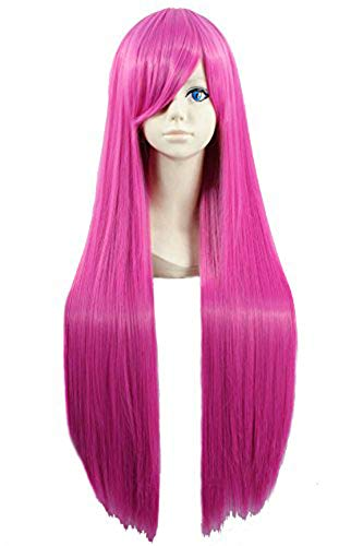 Angelaicos Unisex 80cm Universal Style Straight Bangs Halloween Costume Carnival Cosplay Show Hair Full Wig Long Pink 31 Inches
