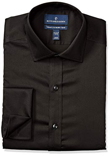 BUTTONED DOWN Men's Tailored Fit French Cuff Micro Twill Non-Iron Dress Shirt, Black, 17.5