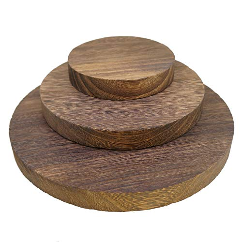 (Princess-J Burned Wooden Round Jewelry Display Board Base Stand Disks Riser Block, Set of 3)