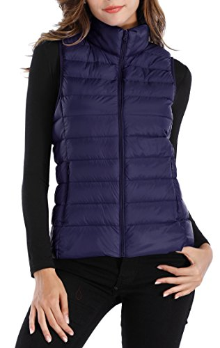 Sarin Mathews Womens Packable Ultra Lightweight Down Vest Outdoor Puffer Vest Navy M (Puffy Vest)