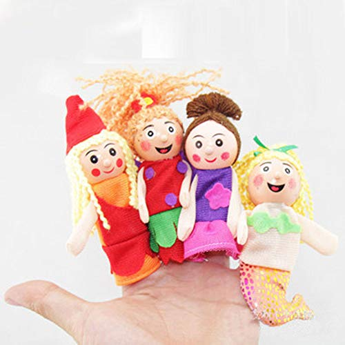 Mermaid Finger Toy Puppets Royal Family Members Hand Puppet Set Educational Toys Best Gift for Kids Set of 4